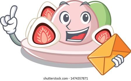 With envelope ichigo daifuku with the cartoon shape