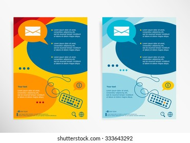 Envelope icon on chat speech bubbles. Modern flyer, brochure vector template