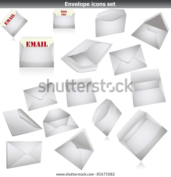 Envelope icon set isolated on white. vector