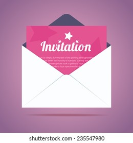 Invitation letter images stock photos vectors shutterstock envelope with invitation card and star shapes vector illustration stopboris Choice Image