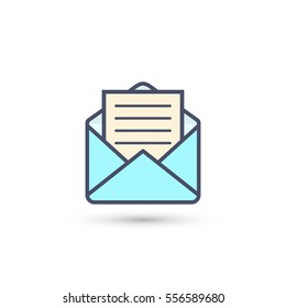 Envelope with letter icon, vector isolated color illustration.
