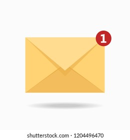 Envelope with a letter. One new notice. Vector illustration. Flat design for business financial marketing banking advertising web concept cartoon illustration.