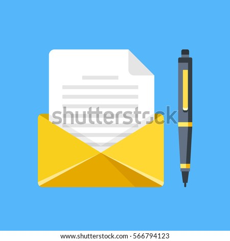 Envelope Letter Pen Write Letter Email Stock Vector Royalty Free