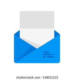 The envelope with the letter. Vector icon. Blue