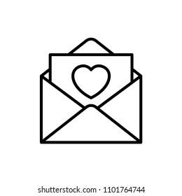 envelope love letter icon. valentine and wedding concept illustration design. simple clean monoline symbol.