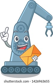 With envelope mechatronic robotic arm in mascot shape