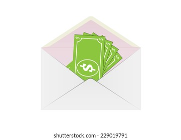 envelope and money on white background, vector