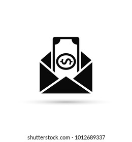 Envelope With Money Vector Icon. Flat Style Design.