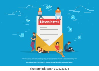 Envelope with a newsleter concept vector illustration of young man and woman receiving commercial letters and promotion offers on laptop, digital tablets and smart phones. Flat newsletter subscribers