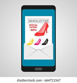 Envelope on smart phone screen. E-mail marketing. Direct marketing