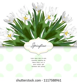 Envelope with a pattern of white tulips.