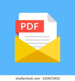 Envelope with PDF file. PDF document email attachment. Modern flat icon. Vector illustration