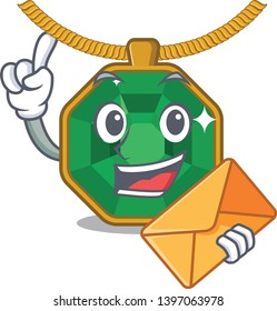 With envelope peridot jewelry in a cartoon box