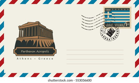 an envelope with a postage stamp with Acropolis Parthenon in Athens, and the flag of Greece
