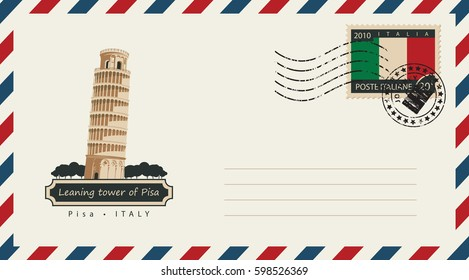 an envelope with a postage stamp with leaning tower of Pisa, and the flag of Italy