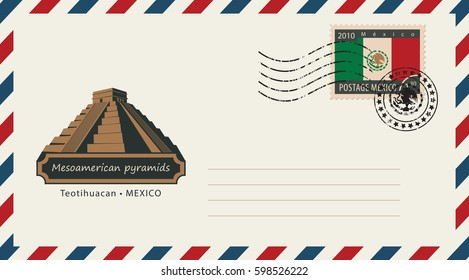 an envelope with a postage stamp with Mesoamerican pyramids, and the flag of Mexico