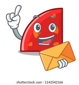 With envelope quadrant character cartoon style