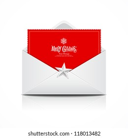 Envelope and red card merry christmas, vector illustration