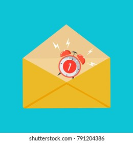 Envelope with shadow. Email message concept of notify, support, incoming, confirm. Get mail, chat message. Isolated on background. Flat vector illustration