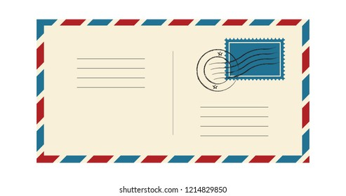 Envelope with stamp and postmark. International mail correspondence. blue and red frame. Vector illustration isolated on white background
