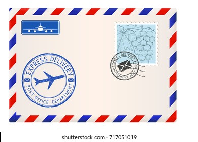 Envelope with stamps and postmarks. International mail correspondence. Vector illustration isolated on white background