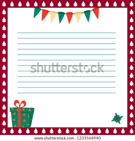 Envelope Template Christmas Letter Santa Claus Stock Vector Royalty