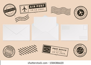 Envelope template with stamp label. Mail letter and post stamps, open mail envelope with blank paper letter sheet, mail office business mockups vector illustration set. Ink postmarks. Permit imprints