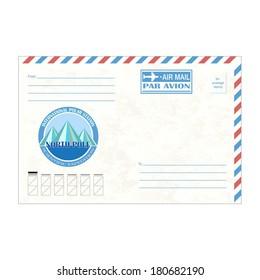 Envelope with text air mail, par avion, vector illustration