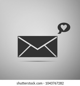 Envelope with Valentine heart icon isolated on grey background. Message love. Letter love and romance. Flat design. Vector Illustration