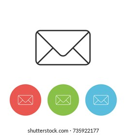 Envelope vector outline single icon for web interface