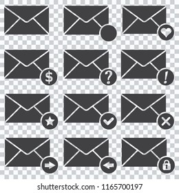 Envelopes Icons, Set of icons for messages. Vector illustration.