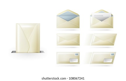 Envelopes (letters, mail) on white background. Open, close, blank, sending and etc.