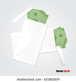 Envelopes open have money in paper white envelopes for your design ,for bonus , gift ,tribute, graft . Vector illustration.