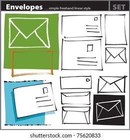 Envelopes set (artistic freehand drawing style)