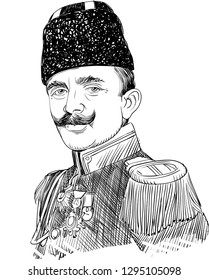 Enver Pasha (1881-1922) portrait in line  illustration. He was Ottoman military officer and the leader of Young Turk Revolution, the main leader of Ottoman Empire in both Balkan Wars and World War I.