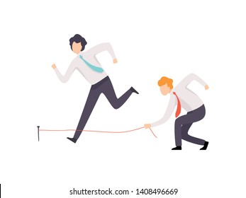 Envious Businessman Tripping His Successful Colleague, Business Competition, Rivalry Between Colleagues, Office Workers Challenging Vector Illustration
