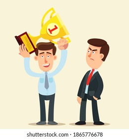 An envious person looks evilly at a successful person - winner. Friends envy and jealousy. Business vector illustration, flat design, cartoon style, isolated background.