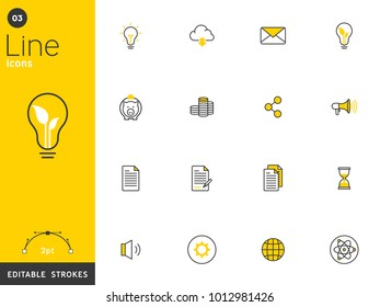 Environment and basic line icons collection, editable strokes. For mobile concepts and web apps. Vector illustration, clean flat design