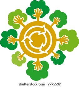 Environment caring- conceptual recycling symbol