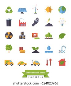 Environment and Climate related isolated flat design vector icons
