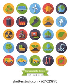 Environment and Climate related round flat design long shadow vector icons collection