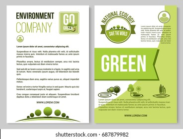 Environment company and ecology poster or brochure template. Vector design of green trees forest, gardens or parklands squares and eco woodlands for planting or horticulture gardening