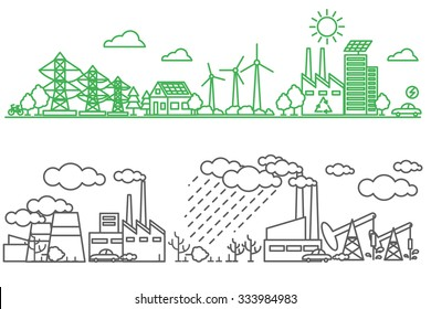 Environment, ecology infographic elements. Environmental risks and pollution, ecosystem. Can be used for background, layout, banner, diagram, web design, brochure template. Vector illustration line