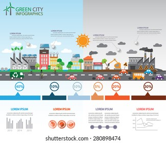 Environment, ecology infographic elements. risks and pollution, ecosystem.  Can be used for background, layout, banner, diagram, web design, brochure template. Vector illustration