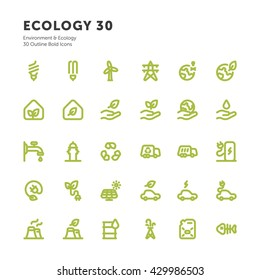 Environment & Ecology Outline Bold Icons Vector Bio