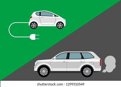 Environment friendly electric car vs conventional internal combustion engine automobile. Vector illustration