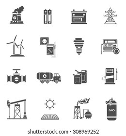 Environment friendly energy generating wind mills and solar power batteries black icons set abstract isolated vector illustration