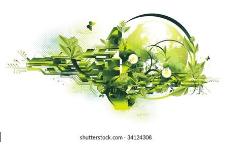 environment & green energy concept,vector illustration
