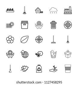 Environment icon. collection of 25 environment outline icons such as leaf, elephant, house, trash bag, target, rake. editable environment icons for web and mobile.