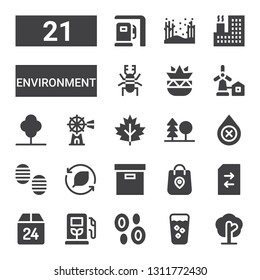environment icon set. Collection of 21 filled environment icons included Tree, Fresh, Blood, Gas station, Box, Change, Package, Leaf, Footprint, Forest, Windmill, Eolical, Botanical
